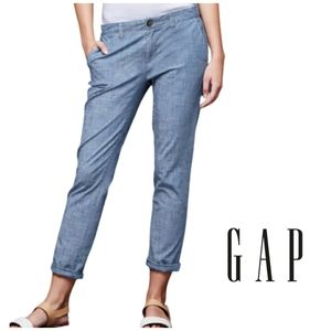 GAP Chambray Girlfriend Chinos Ankle Length